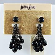 "Vintage ""Neiman Marcus clip on earrings black metallic beads dark dangling chains"