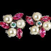 Judy Lee ear clips pink rhinestones & large imitation pearls