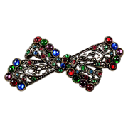 Large bow brooch from the 1940's multicolored cabs & rhinestones