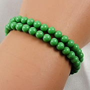 Jade green glass bead twin rows bracelet nice Sterling (925) clasp