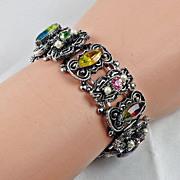 Heavier book link bracelet multicolored rhinestones & imitation pearls