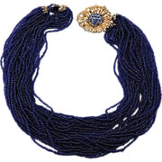 Torsade necklace multi strand cobalt blue glass seed beads