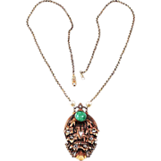 Art Deco pendant necklace 1930-40's floral spray gold tone & pearls