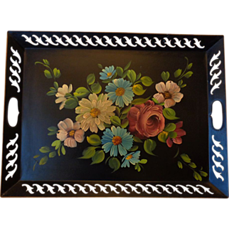 Vintage 40-50's HP Floral Tole Tray Reticulated Rim