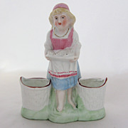 German Bisque Spill Vases Figurine girl w/ Fish Early 1900s