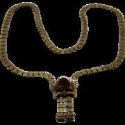 Victorian 10K Solid Gold Book Chain Slide Necklace w/ Garnet