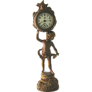 1890s Jennings Bros Novelty Clock Patinated Gilded Copper Cherub 11 1/2""