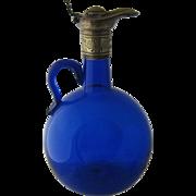 Bristol Blue Glass Claret Jug Wine Carafe Silver Plate Mounts Late 1800s