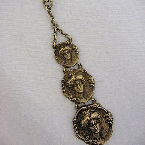 Ca 1900 Art Nouveau Gilt Sterling Watch Fob Women's Heads