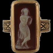Victorian 14K Hardstone Cameo Ring Full Figure Muse Sz 5