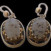 Victorian 18K Agate Enamel Drop Earrings w/ 10K Wires