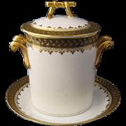 Ca 1900 Haviland Limoges Porcelain Can or Jar Holder w/ Underplate