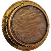 Large Victorian 14K Abalone Shell Collar Button