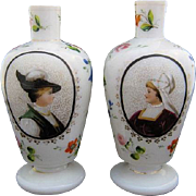 Pair 19th Century Bristol Glass Vases Hand Painted Portraits