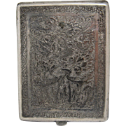 Vintage Persian Hand Chased Solid Silver Cigarette Case Birds Florals