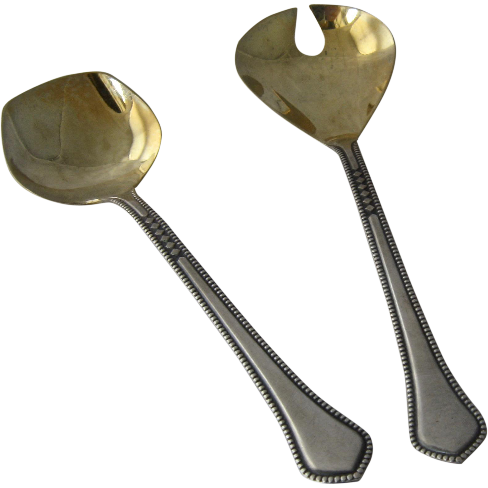 Soviet Russia Silver PLated Dessert Spoon Fork Gold Wash