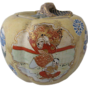 Late 1800s Satsuma Cracker Jar Moriage Gilt
