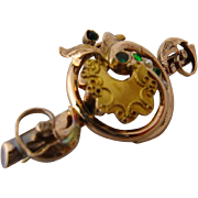 Ca 1880 Victorian 15K Bar Love Knot Pin  Etruscan Work