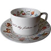 Fortune Telling Cup Saucer Royal Kendal Zodiac Vintage Bone China