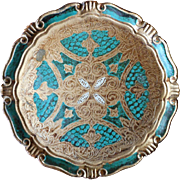 Florentine Tray Italy Vintage Gold Tea Green Wood Gesso
