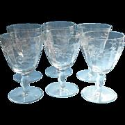 Water Goblets Set 6 Vintage Engraved Wide Stemware Wine