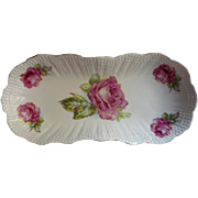 Roses Antique China Celery Dish Serving Bowl Pink White Green
