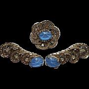 Art Deco Set 3 Rhinestone Glass Star Sapphire Pin Pins Light Blue