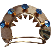 Barrette Pony Tail Vintage Blue Rhinestones Hair Clip Bouffant