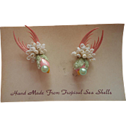 Sea Shell Art Earrings Figural Birds Vintage Tropical Original Card