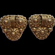 Dress Clips Vintage Pair Brass Filigree Vintage 1930s