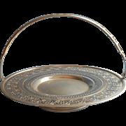 Polished Nickel Silver Cake Cookie Fruit Basket Vintage Pierced