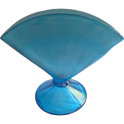 Fenton Celeste Blue Stretch Glass Fan Vase Vintage 1920s Optic Rib