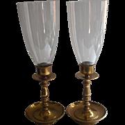 Brass Candlesticks Hurricane Glass Shades Pair Vintage