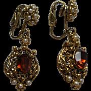 Vintage Drop Earrings Ornate Victorian Revival Style Faux Citrine Pearls