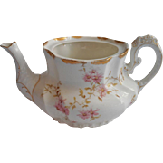 Limoges Breakfast Teapot No Lid  Antique China T V France Pink