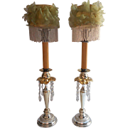 1902 Candle Followers Shades Beads Flowers Antique for Candlesticks