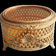 Jewelry Box Amber Glass Vintage Vanity Filigree Ormolu Matson