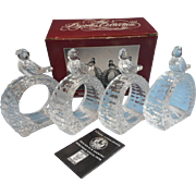 Hofbauer Byrde Crystal Napkin Rings Vintage Set 4 Bird Birds Original Box