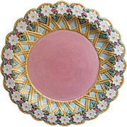 Majolica Charger Platter Andrea By Sadek Big Pink Pottery w Flowers