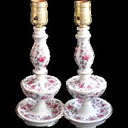 Pair Lamps Vintage China Pink Roses Boudoir Vanity Bed Table