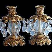 Ornate Candlesticks Vintage Prisms Metal Lucite Hollywood Regency