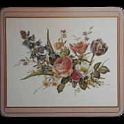Pimpernel Trivet Hot Plate Vintage 1980s Peachy Pink Flowers Cork