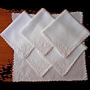 Tea Napkins Linen Cutwork Antique Hand Embroidery TLC