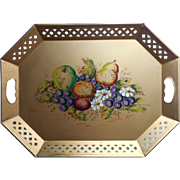 Tole Tray Vintage 1950s Gold Hand Painted Fruits Signed Vega