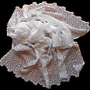 Narrow Lace Tablecloth Vintage 1940s Cotton Chemical Lace 35 x 57