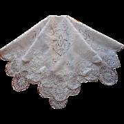 Lavish Cutwork Embroidery Antique Layover Pillow Sham Topper