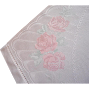 1920s Towel Hand Painted Pink Roses Linen Damask