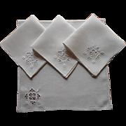 1920s Italian Work Tea Napkins Hand Embroidery Linen Set 4