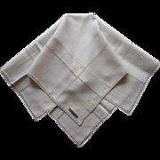 1920s Italian Hemstitching Linen Tea Tablecloth Vintage Unused w Label