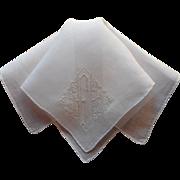 Monogram F Hankie Vintage Fine Linen Exquisite Hand Embroidery